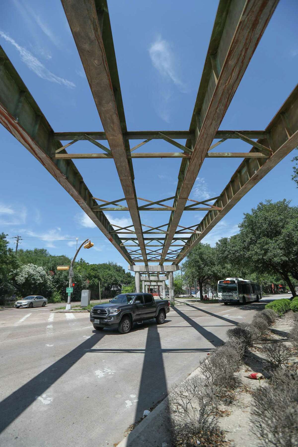 City officials planned a pedestrian trail as a replacement for connections from Bagby and Brazos to Spur 527, rather than replace the old bridge, the girders of which hang above the streets on April 15, 2020, in Midtown Houston.