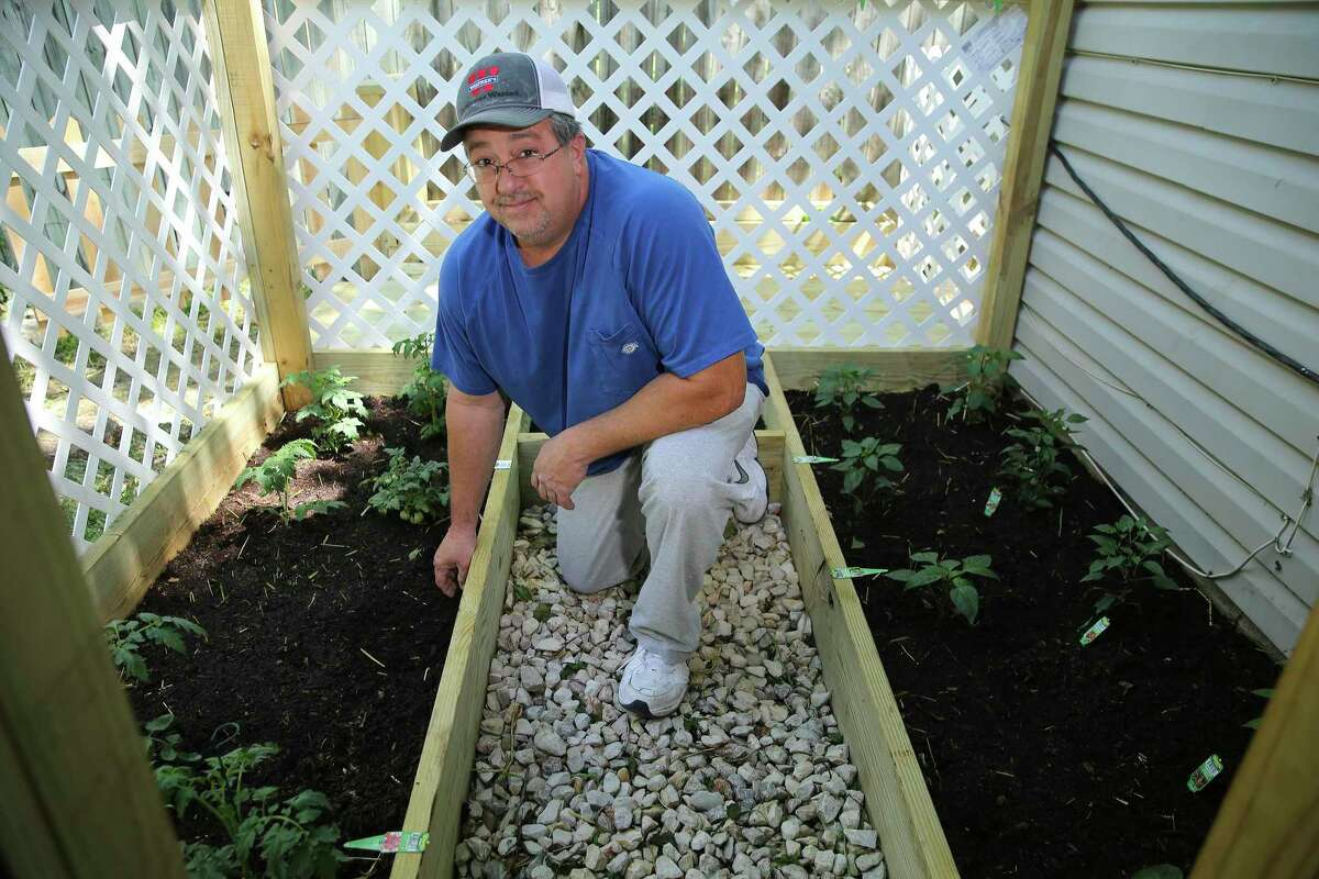 San Antonio homeowners like Corey Flores, who planted a small vegetable garden in his backyard, have found ways to stay busy while staying home.