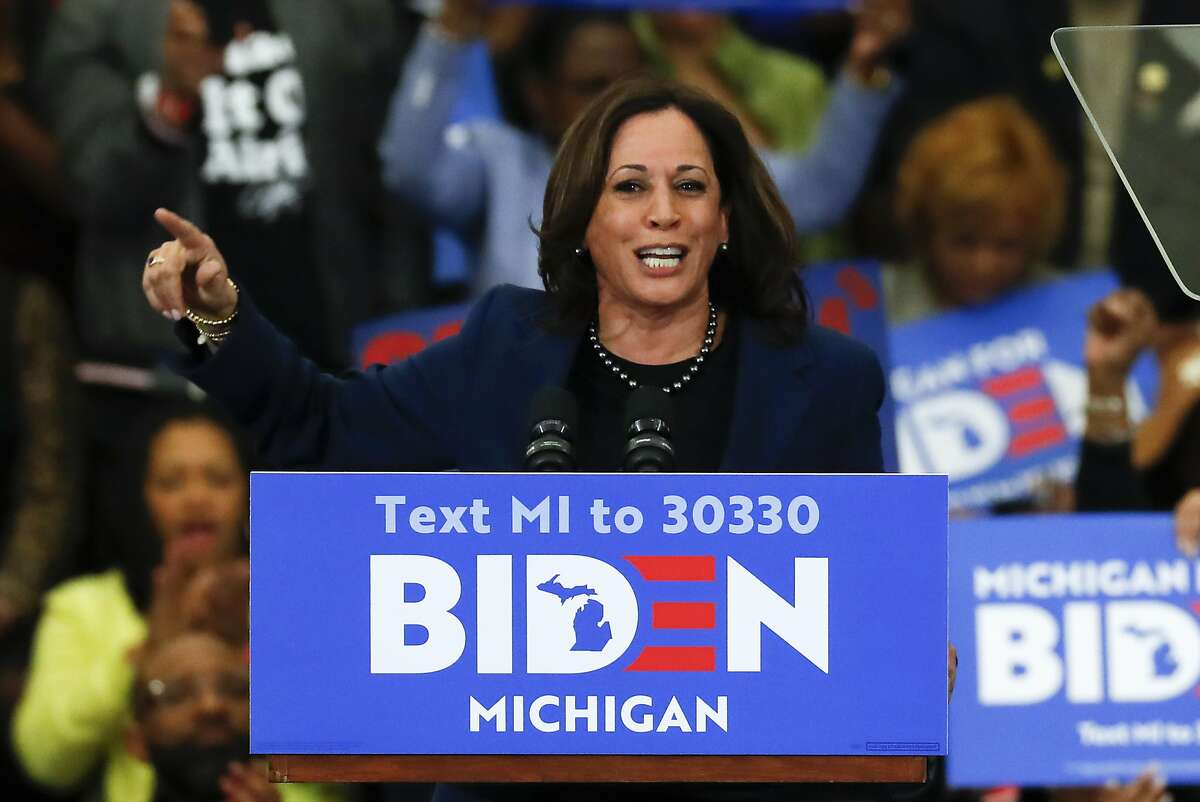 FILE - In this March 9, 2020, file photo Sen. Kamala Harris, D-Calif., speaks at a campaign rally for presumptive Democratic presidential candidate former Vice President Joe Biden at Renaissance High School in Detroit. Harris is raising money for Biden while speaking out about the disproportionate number of African Americans with COVID-19. (AP Photo/Paul Sancya, File)