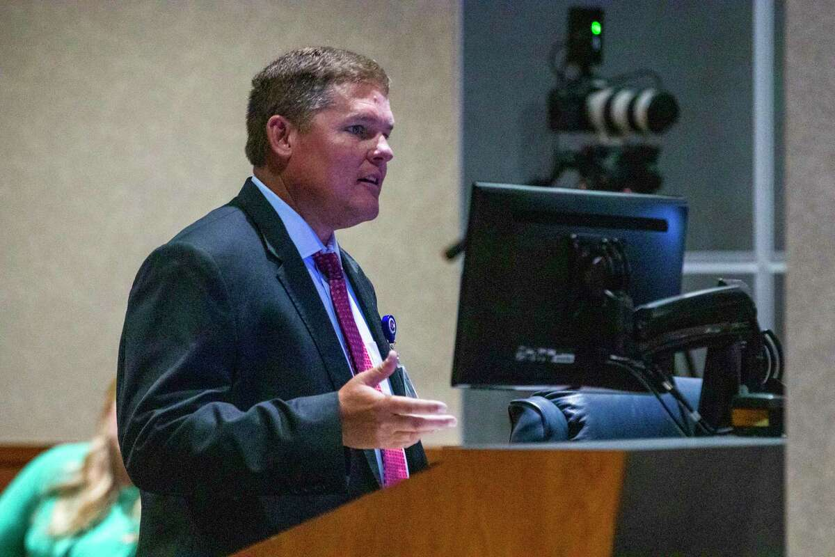 CISD CFO Darrin Rice delivers a presentation during a CISD Board of Trustees public budget hearing Tuesday, August 6, 2019 at CISD administration building in Conroe.