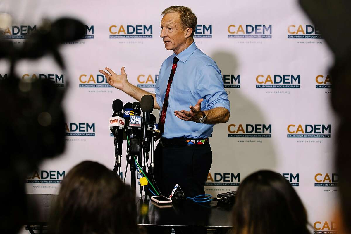 LONG BEACH, CA - NOVEMBER 16: Tom Steyer speaks to members of the media at the California Democratic Party's 2019 Fall Endorsing Convention at the Long Beach Convention Center in Long Beach, California November 16, 2019.