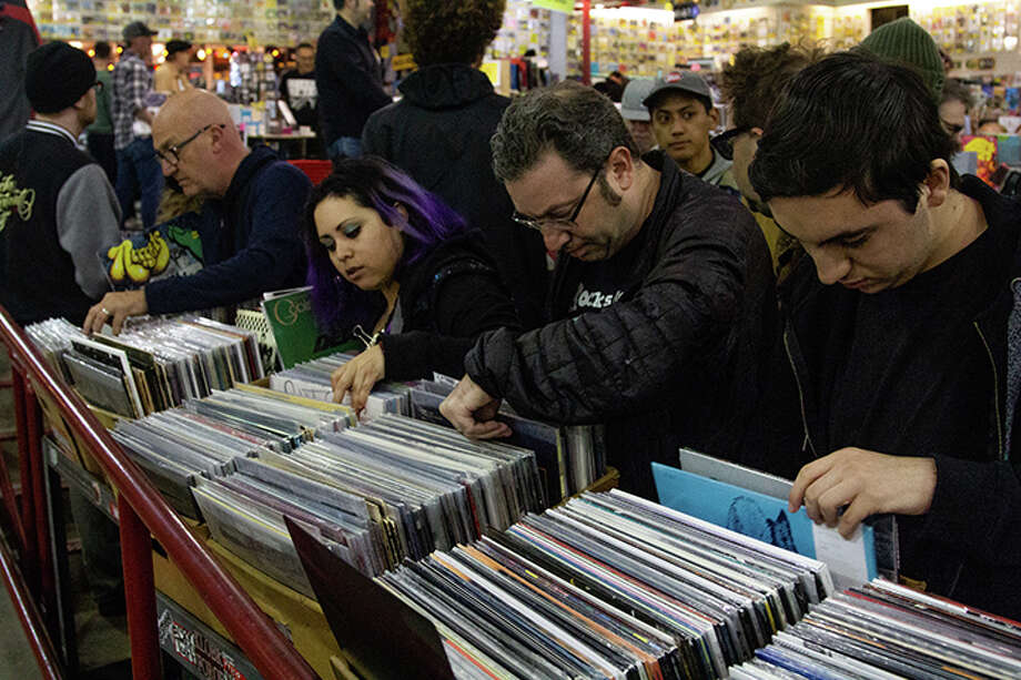 Vinyl collectors pack into Amoeba Music's San Francisco location on Record Store Day in 2019. The annual event was postponed as a result of COVID-19, and while some record shops are hit hard by the loss, they're finding ways to celebrate anyway. Photo: Courtesy Of Amoeba Music