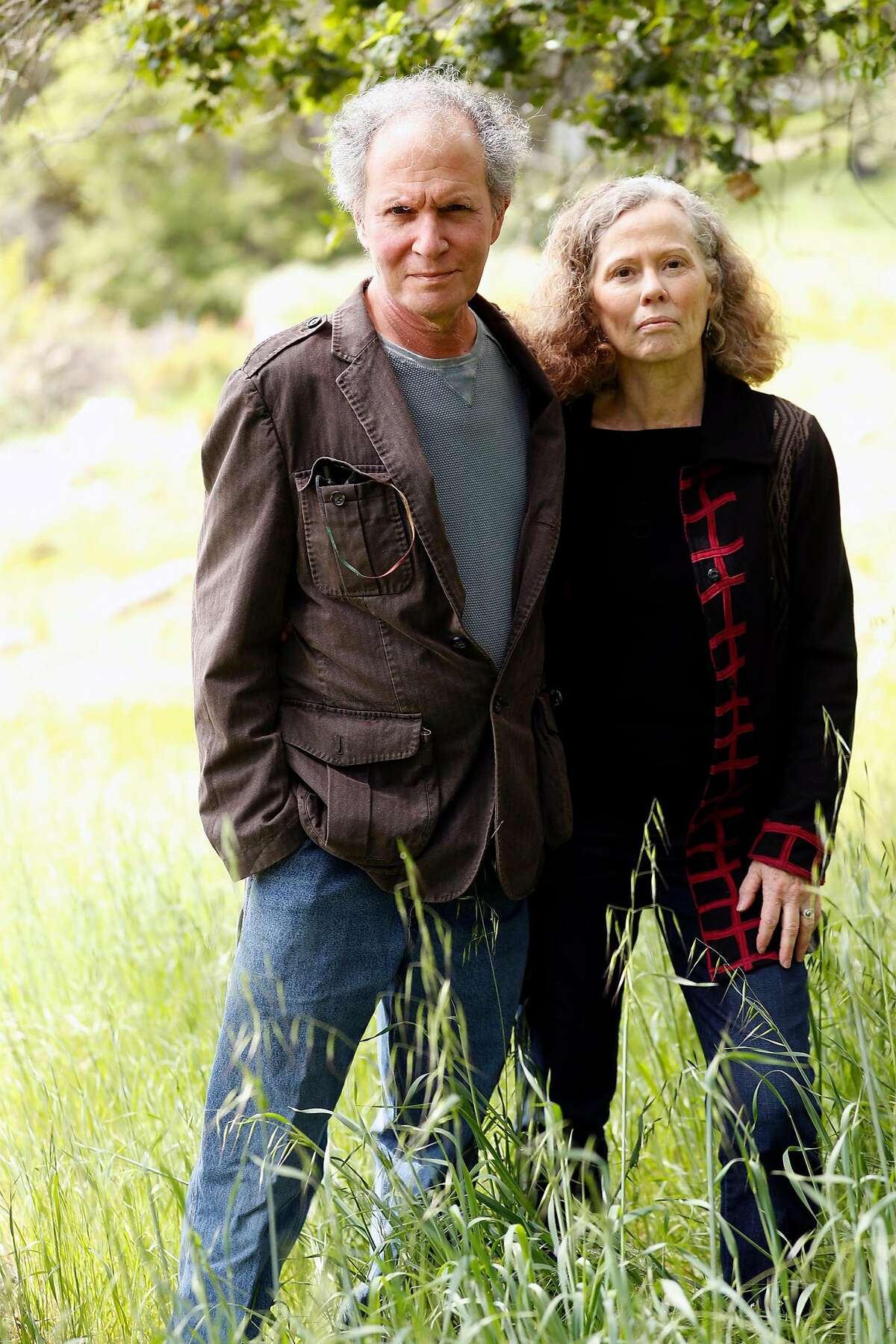 Howard Klepper and Helen Sedwick visit the former site of their home that was destroyed in the 2017 Nuns Fire. Photographed in Santa Rosa, Calif., on Thursday, April 16, 2020.
