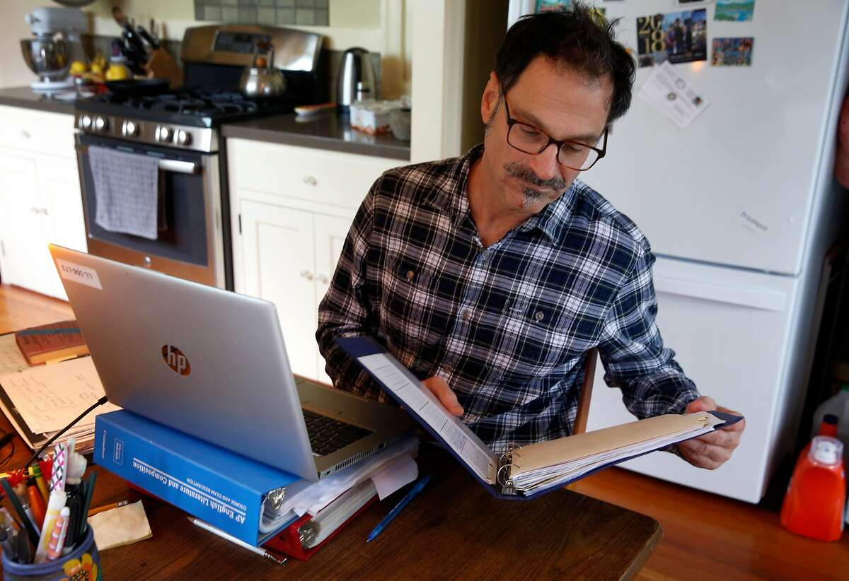 Will Cautero prepares to teach his 11th grade English class to Las Lomas High School students remotely from his home in Oakland, Calif. on Thursday, April 16, 2020.