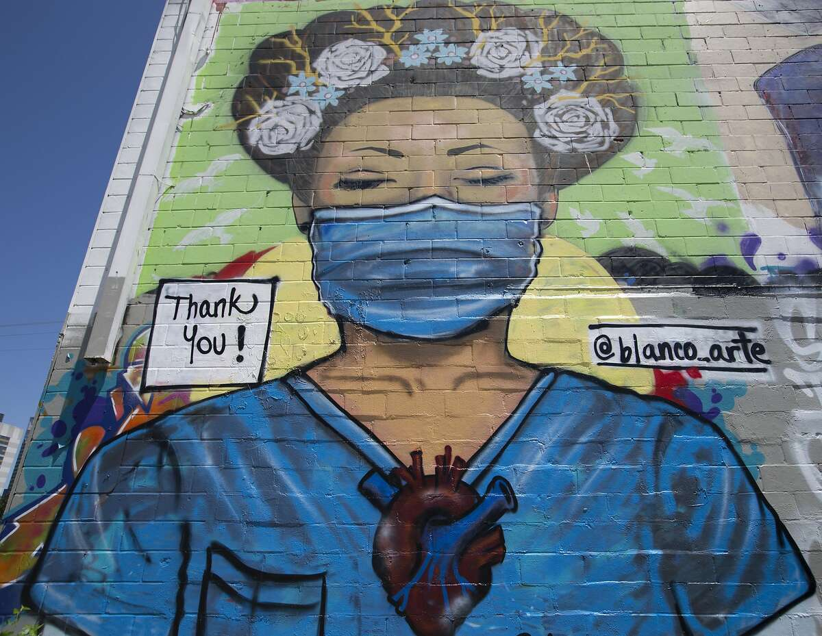Artist Sylvia Blanco's mural honoring healthcare worker in the COVID-19 outbreak is photographed Monday, April 13, 2020, at Graffiti Park in Houston.