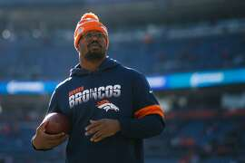 Denver Broncos linebacker Von Miller during warmups before a game against the Los Angeles Chargers at Empower Field at Mile High on December 1, 2019, in Denver. (Justin Edmonds/Getty Images/TNS)