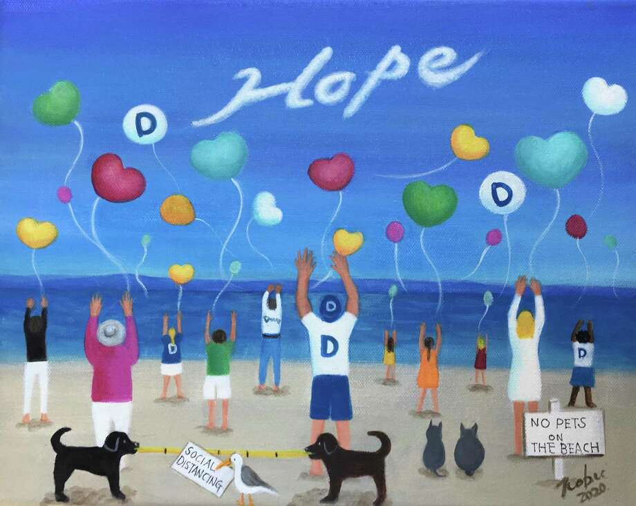 This original painting by Darien artist Nobu Miki, created in partnership with The Darien Times, was created to capture the hope and spirit of community during this difficult time. Miki has generously offered to sell her original painting and 20 others and donate the entire proceeds to Corbin Cares. Photo: Nobu Miki /