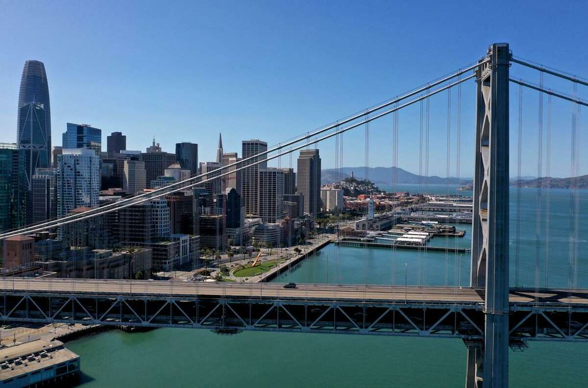 A single car drives west on the Bay Bridge this month.