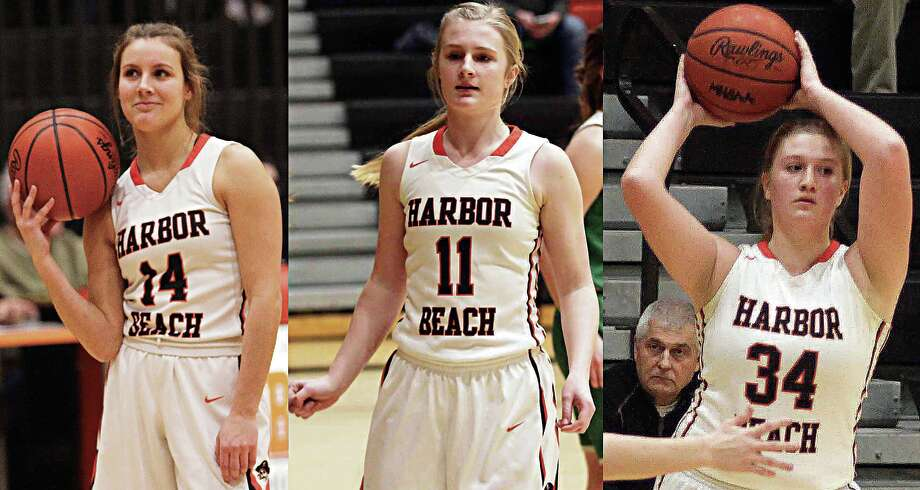 From left, Harbor Beach seniors Claire Woodke, Jenna Guza and Annika Kirsch recently spoke about the team's academic all-state honor, the past season and their futures. Photo: Tribune File Photo