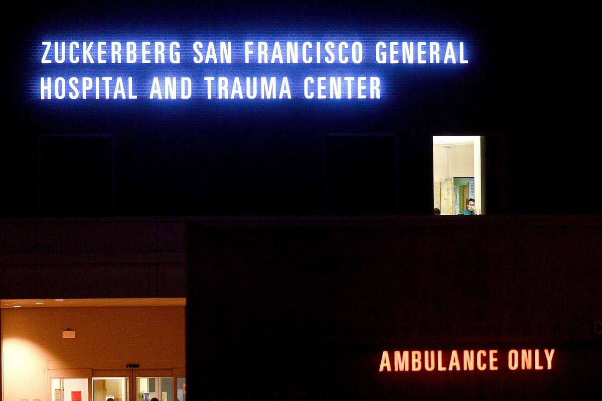 A worker wears a mask at Zuckerberg San Francisco General Hospital on Friday, April 17, 2020, in San Francisco.