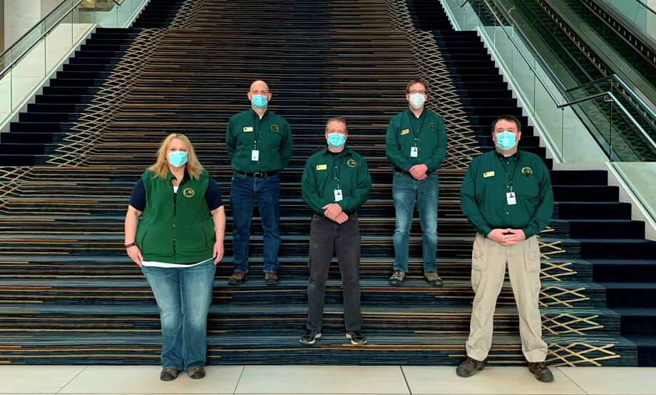 A Michigan Department of Natural Resources emergency management team working in Detroit in response to the coronavirus pandemic is shown. From left, Rose Wilbur, Peter Costa, Brian Mensch, Glenn Palmgren and Scott Lakosky. (Michigan DNR/Courtesy Photo)