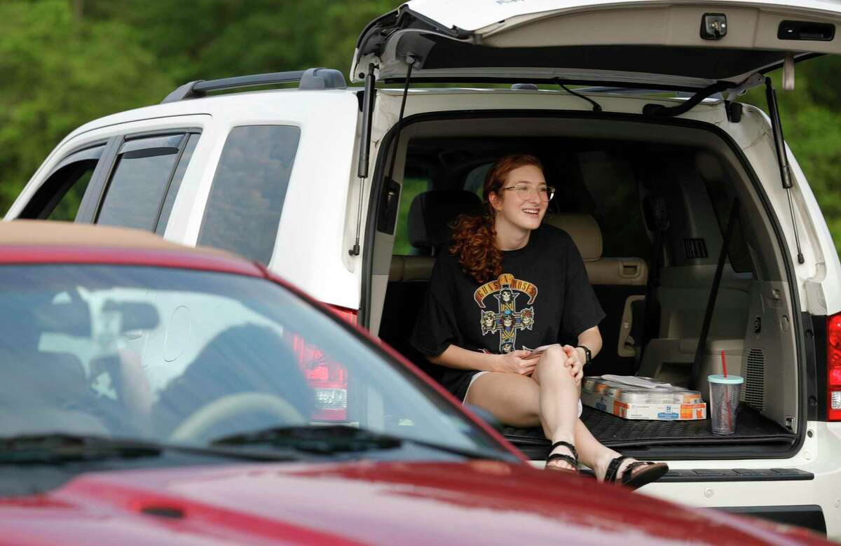 Humble ISD Superintendent Elizabeth Fagen hopes students like Junior Madeline Duncan who visits with Morgan Wadsworth and Erin Eldridge can return to their campuses in August.