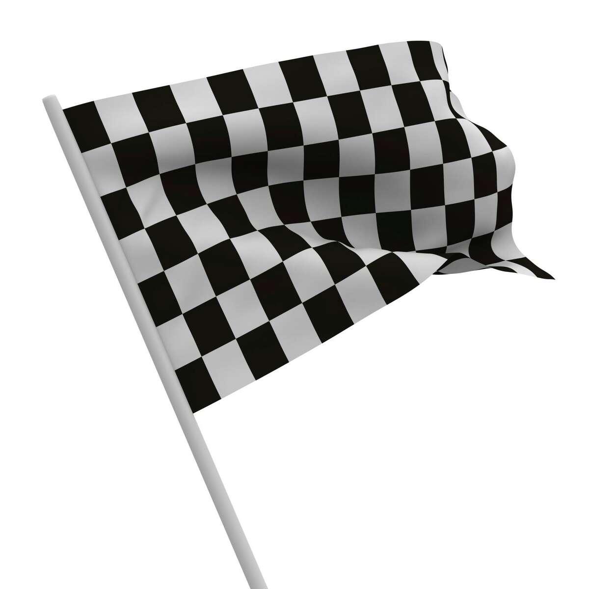 finishing checkered flag on white background. Isolated 3D image