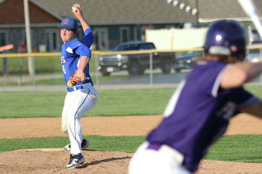 Carlinville pitcher Colton DeLong works to a Litchfield batter during a game last season in Litchfield. The Cavaliers graduated many of its top players from a 23-3 team in 2019, but DeLong's return will be a bright spot if the Cavs get to take the field in 2020. Photo: Greg Shashack / The Telegraph