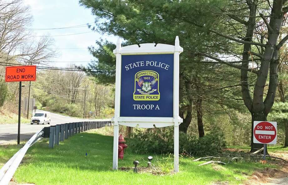 Entrance to Connecticut State Police Troop A headquarters in Southbury. Photo: Kendra Baker