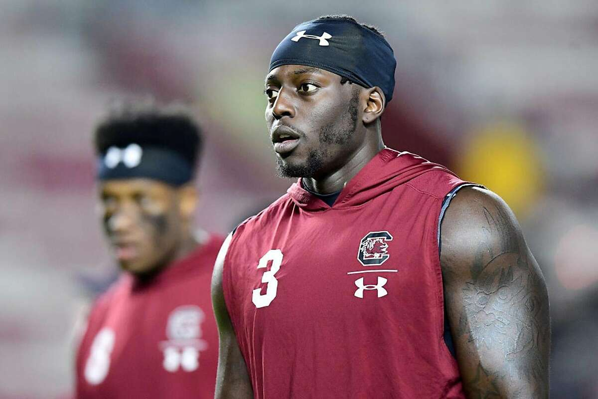 Javon Kinlaw #3 of the South Carolina Gamecocks warms up before their game against the Appalachian State Mountaineers at Williams-Brice Stadium on Nov. 9, 2019 in Columbia, S.C. (Jacob Kupferman/Getty Images/TNS)