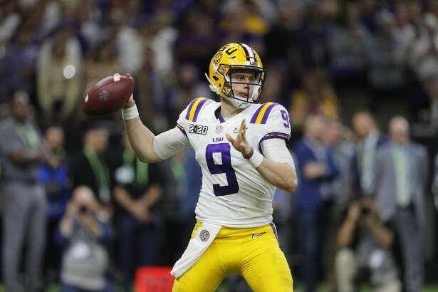 In this Jan. 13, 2020, file photo, LSU quarterback Joe Burrow throws a pass against Clemson during the second half of the NCAA College Football Playoff national championship game in New Orleans.