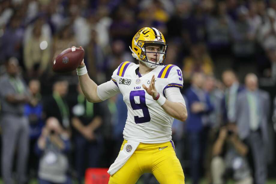 In this Jan. 13, 2020, file photo, LSU quarterback Joe Burrow throws a pass against Clemson during the second half of the NCAA College Football Playoff national championship game in New Orleans. Photo: Gerald Herbert | Associated Press / Copyright 2020 The Associated Press. All rights reserved