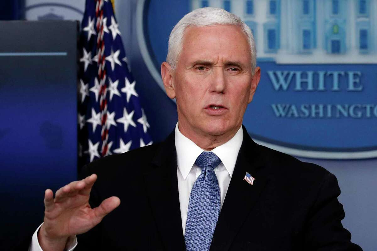 Vice President Mike Pence speaks about the coronavirus in the James Brady Press Briefing Room of the White House, Friday, April 17, 2020, in Washington. (AP Photo/Alex Brandon)