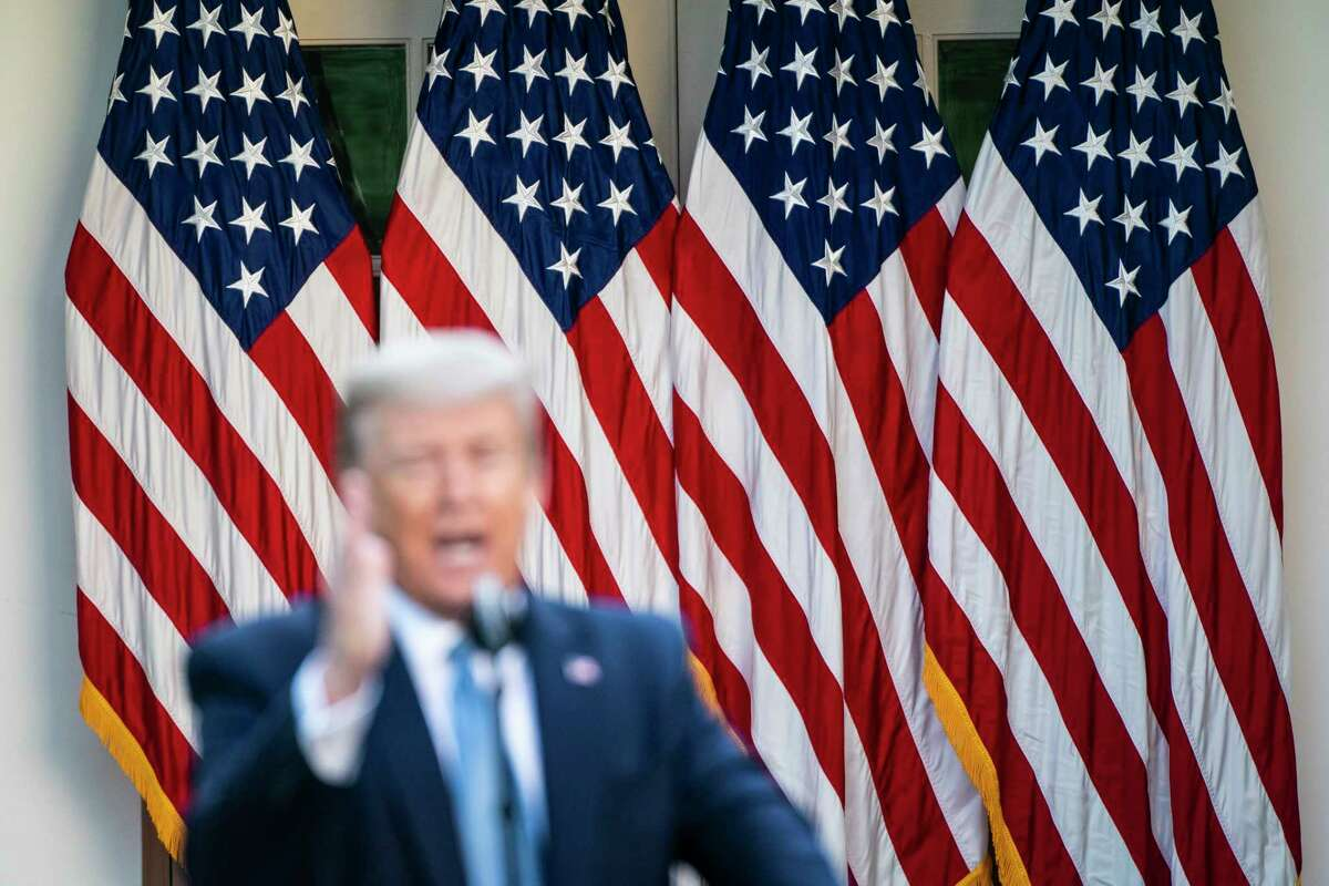 President Donald Trump speaks during a briefing in response to the covid-19 coronavirus pandemic in the Rose Garden of the White House on April 15.