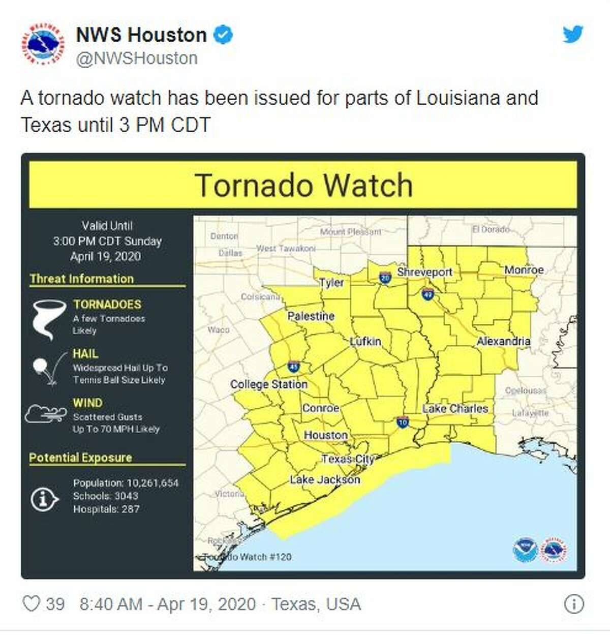 A tornado watch has been issued by the National Weather Service for many counties surrounding the Houston-area until 3 p.m. Severe thunderstorms now rolling across the Houston area are capable of producing hail, high winds and tornadoes.