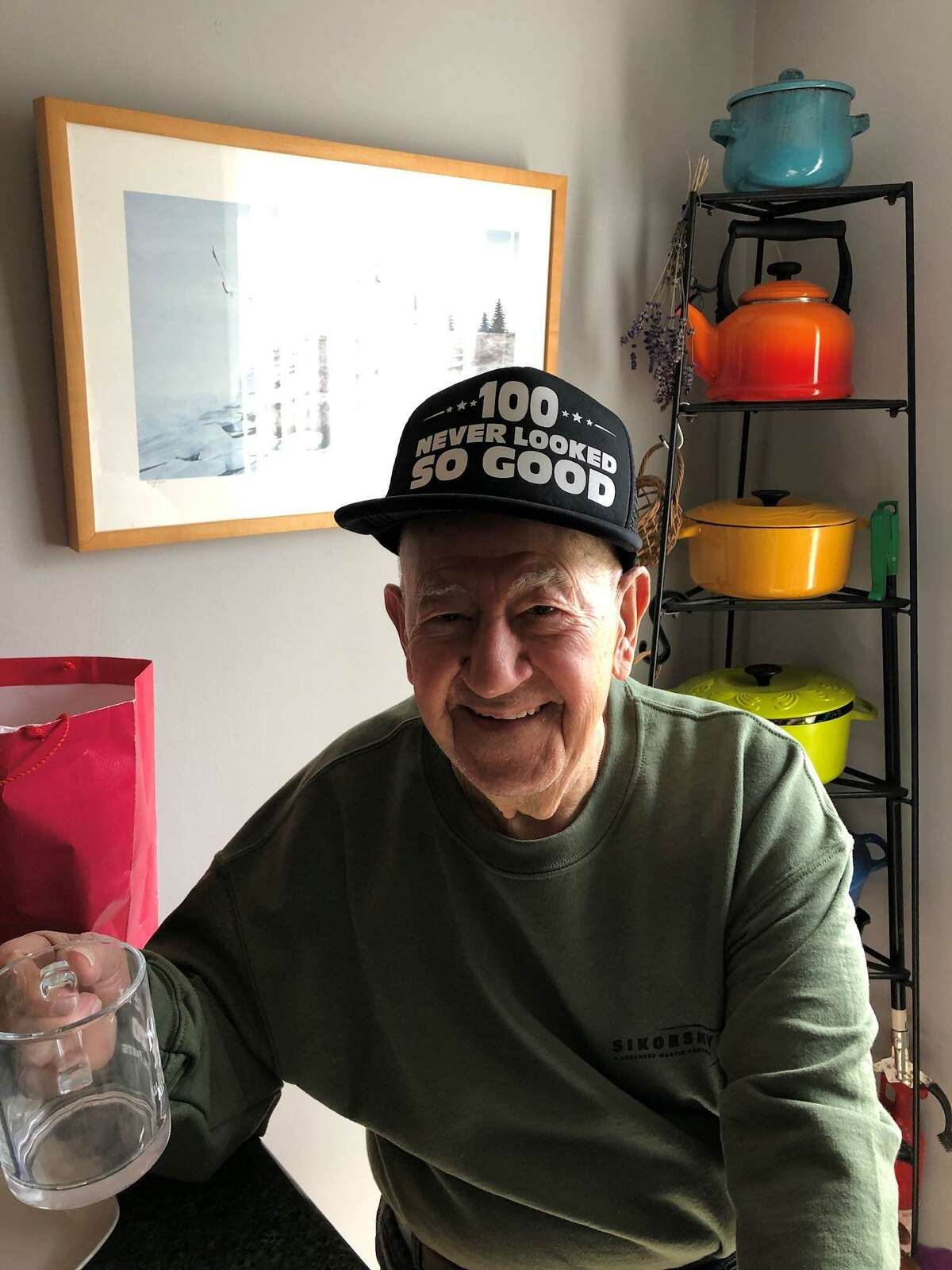 Jerry Sicardi, a 100-year-old that has been making masks with his daughter, Judy Waldeyer, and giving them out to people and places that need them.