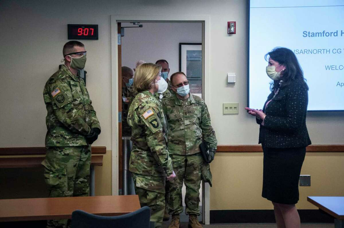 Kathleen Silard, president and CEO of Stamford Health, greets Lt. General Laura Richardson, commander of U.S. Army North, who visited Stamford Health on the morning of April 14