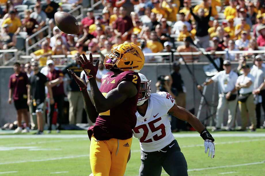 In this Oct. 12, 2019, file photo, Arizona State wide receiver Brandon Aiyuk (2) reaches out to make a touchdown catch in front of Washington State safety Skyler Thomas (25) during the first half of an NCAA college football game in Tempe, Ariz. Photo: Ross D. Franklin / Copyright 2019 The Associated Press. All rights reserved