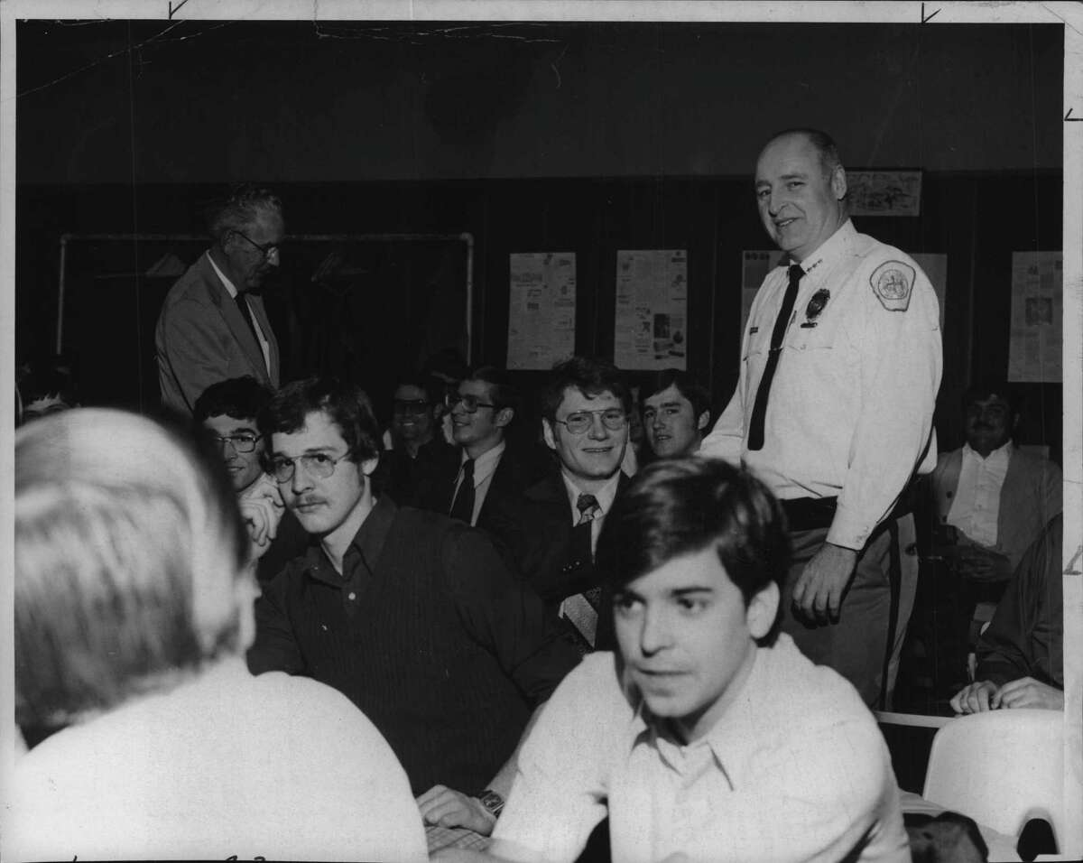 New York - Albany Police Chief Edward McArdle, left, and Colonie Chief James Flater welcoming the 70 members of the largest basic police training class ever held under the auspices of the New York State Municipal Police Training Program. April 20, 1975 (Times Union Archive)