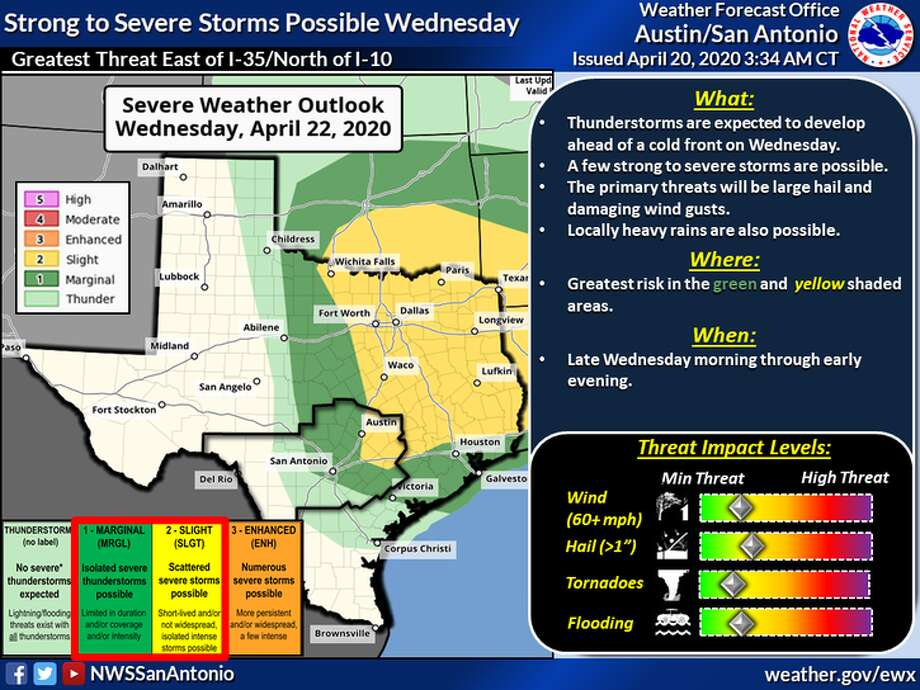 Strong thunderstorms and rain are expected to roll through San Antonio throughout Wednesday, according to the National Weather Service. Photo: National Weather Service