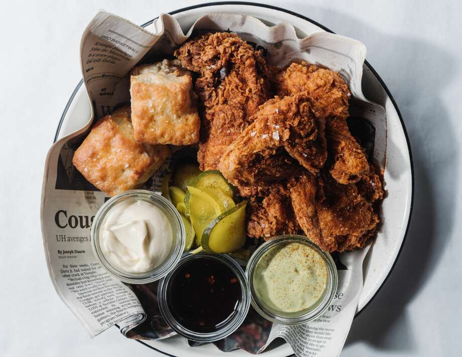 La Lucha 1801 N Shepherd Dr. 713-955-4765  The fried chicken special at La Lucha in The Heights includes a whole ($36.95) or half ($19.95) bird with biscuits, pickles and your choice of sauce: green harissa, honey sambal, or oyster mayonnaise. Photo: Andrew Thomas Lee