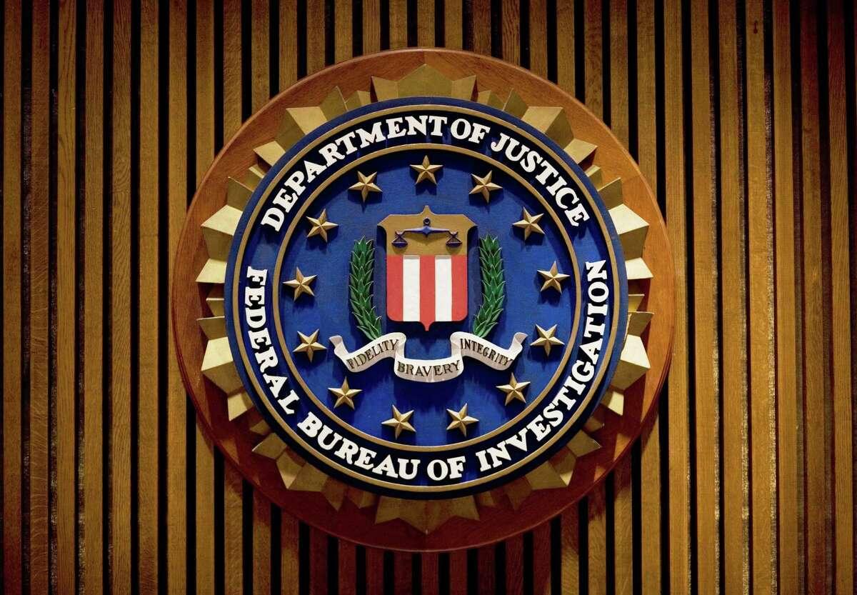 A crest of the Federal Bureau of Investigation inside the J. Edgar Hoover FBI Building in Washington, D.C.