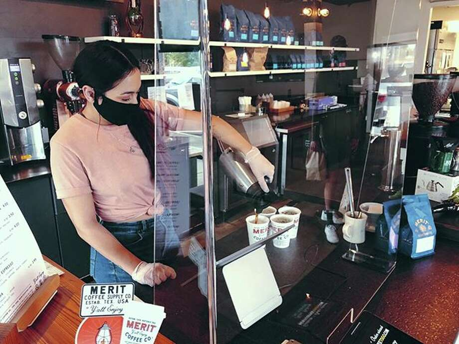 Over the weekend, Merit Coffee installed sneeze guards in all of its locations in San Antonio to help protect its staff and its customers from COVID-19. Photo: Merit Coffee