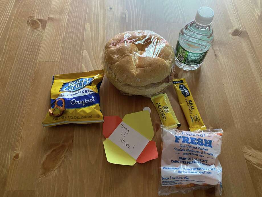 An example of the Darien Schools' grab and go lunch being provided to students beginning April 20. Photo: Kristen Vitti