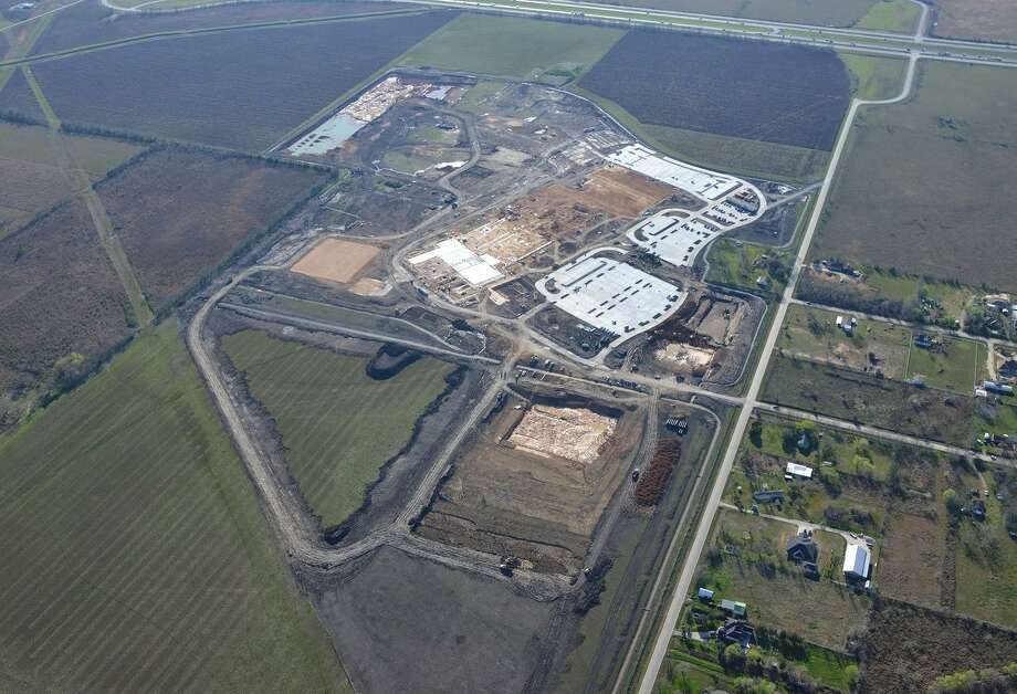 The planned Iowa Colony High School, which is about 25 percent complete, is slated to open in fall 2022. Alvin ISD says the project is on track but is keeping a close eye on the supply chain for construction materials. Photo: Alvin ISD
