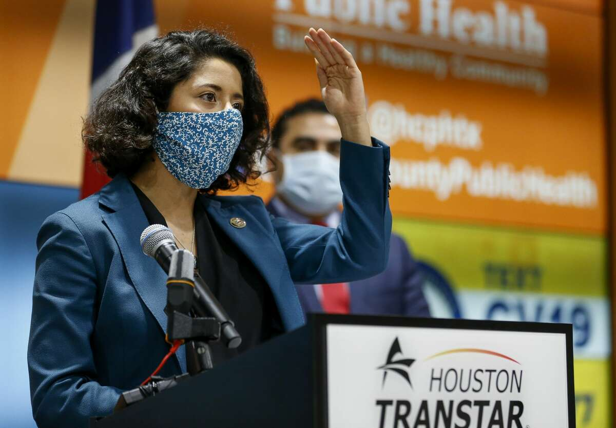 Harris County Judge Lina Hidalgo speaks during a press conference to announce the county's COVID-19 Recovery Czar and to give an update on the county's response at Houston TranStar on Monday, April 20, 2020, in Houston.