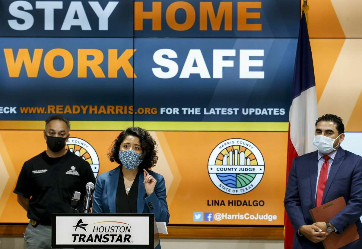 Harris County Judge Lina Hidalgo speaks during a press conference to announce the county's COVID-19 Recovery Czar and to give an update on the county's response, at Houston TranStar on Monday, April 20, 2020, in Houston.