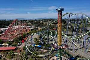 In this aerial view from a drone, rides sit idle at Six Flags Discovery Kingdom on April 15, 2020 in Vallejo, California. Amusement parks in California have been temporarily closed as the state's residents are under a shelter-in-place order in an effort to slow the spread of the COVID-19 virus.