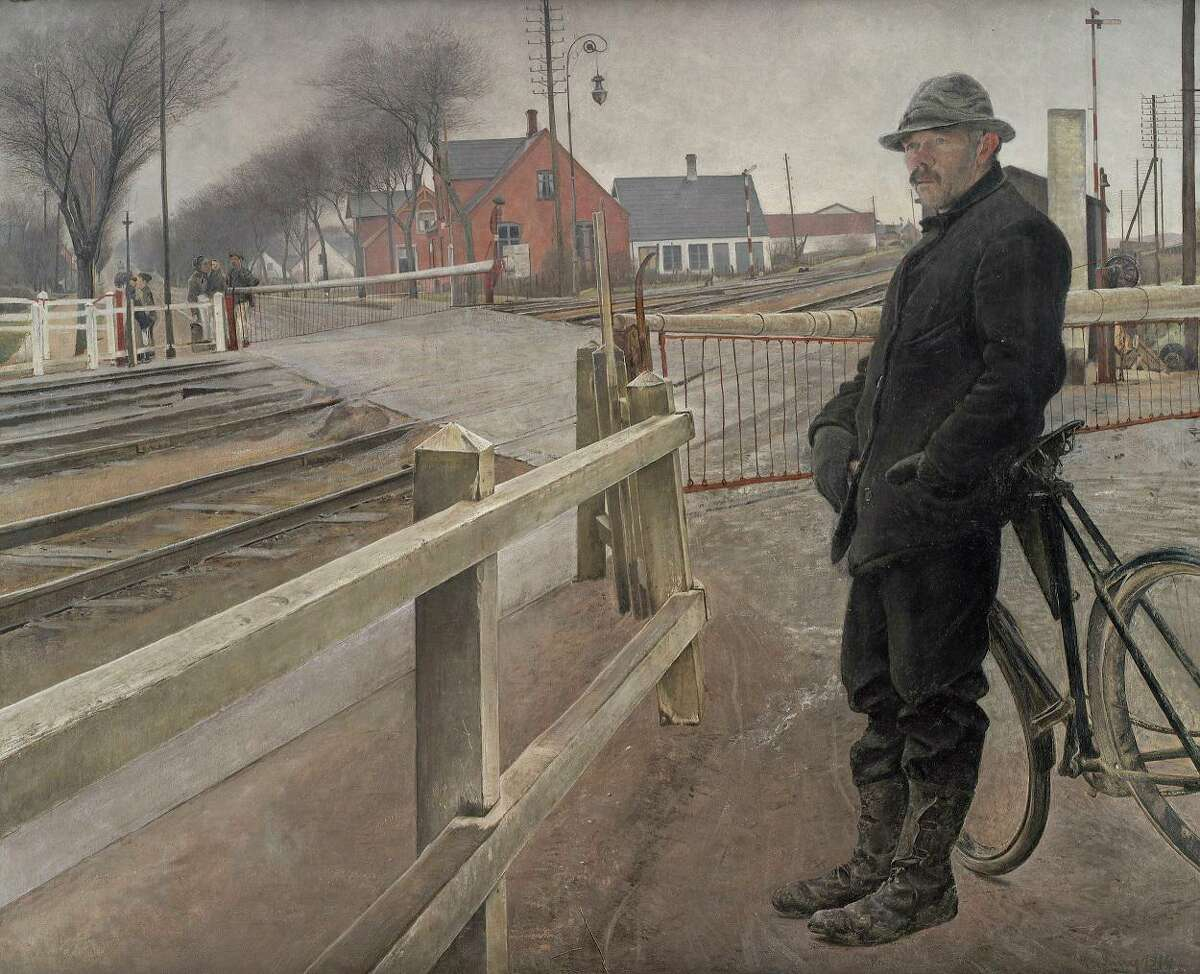"""Laurits Andersen Ring (Danish, 1854-1933), """"Waiting for the Train. Level Crossing by Roskilde Highway,"""" 1914. Oil on canvas, 56.2 x 68.7 in. DEP 535."""