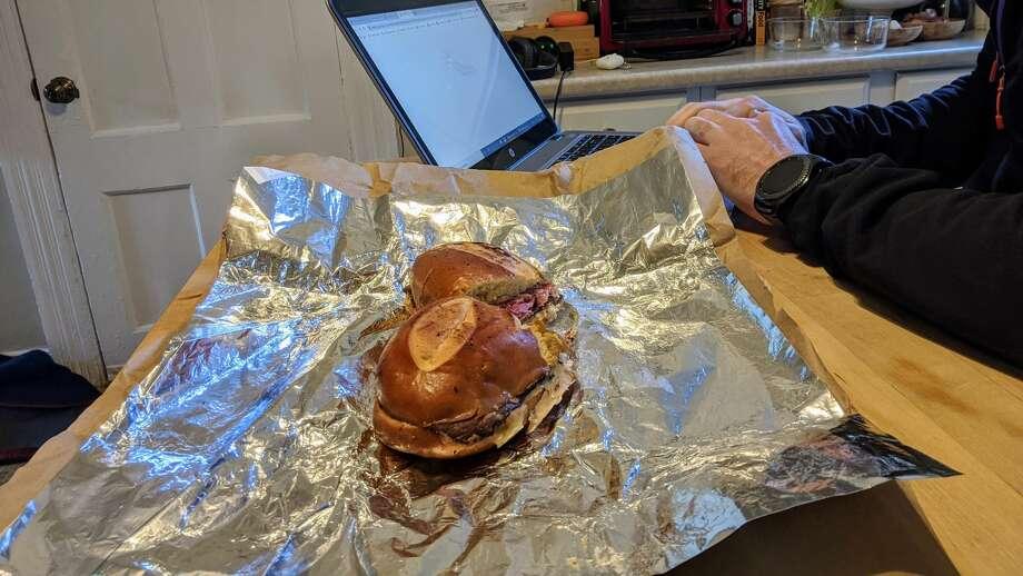 Unwrapped reuben sandwich delivered by Kiki Air drone on Wednesday, April 15, 2020. Photo: Derek Turner / Hearst Connecticut Media