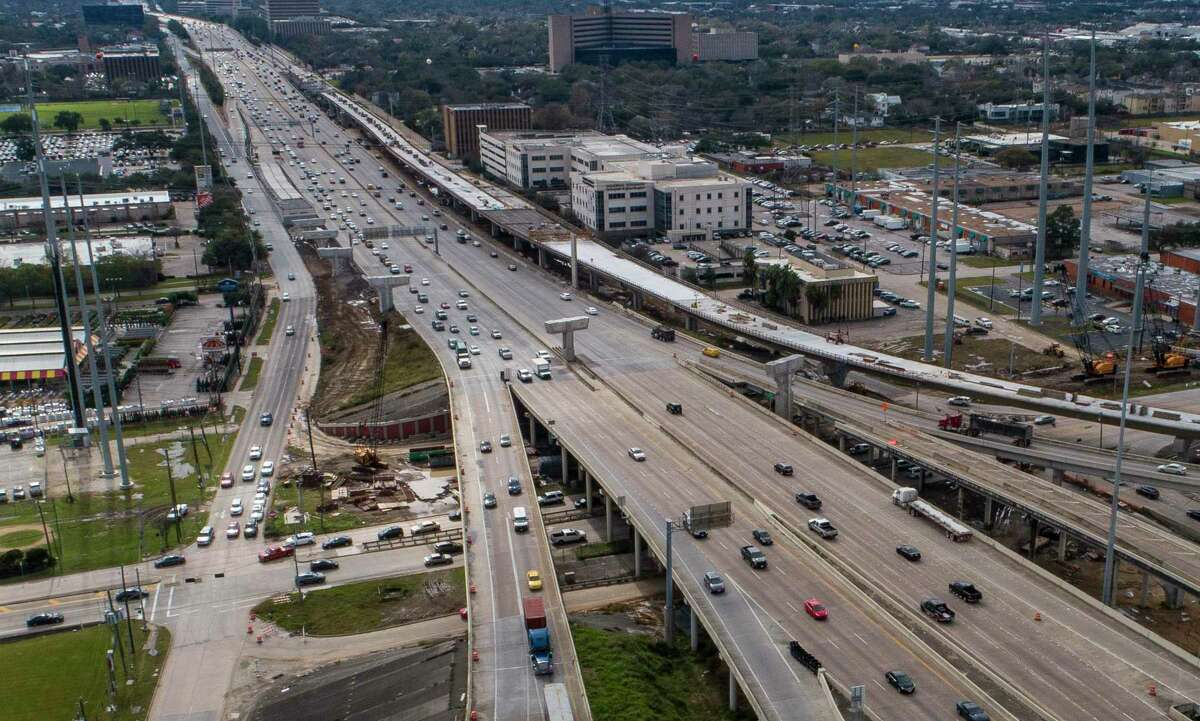 The new connection from northbound Interstate 69 to southbound Loop 610, the top-most lanes from the right of this Jan. 29, 2020 aerial, opened Sunday. The ramp includes the new exit to Fournace, south of Westpark.