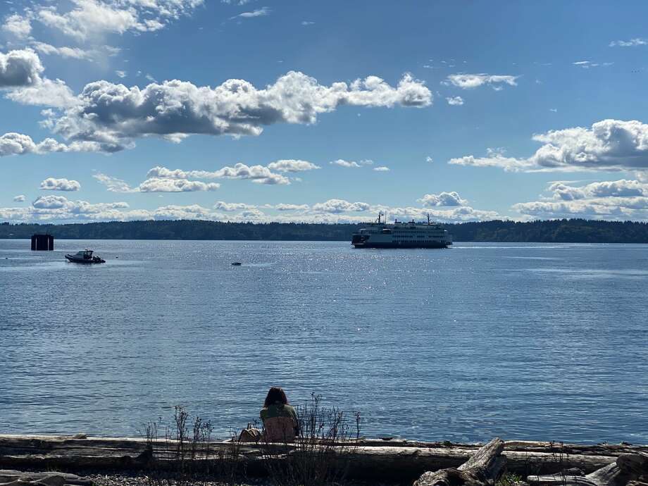 A view of a ferry approaching the Fauntleroy Ferry Terminal near Lincoln Park in West Seattle on April 19, 2020. Photo: Kristina Moy