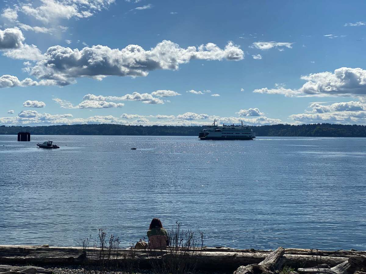 A view of a ferry approaching the Fauntleroy Ferry Terminal near Lincoln Park in West Seattle on April 19, 2020.