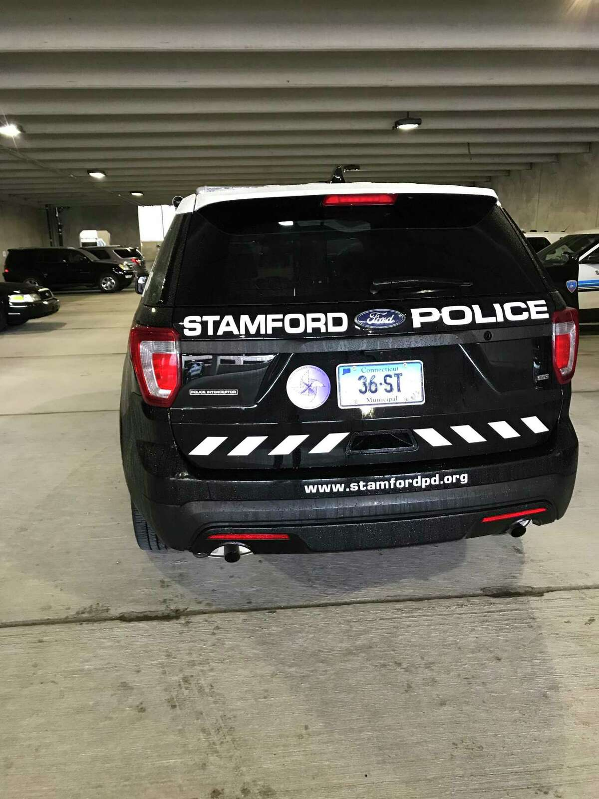 A Stamford Police cruisers.