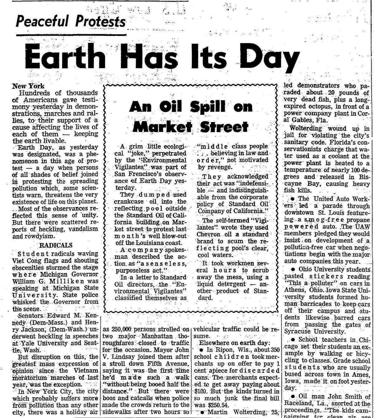 Chronicle coverage of the first Earth Day