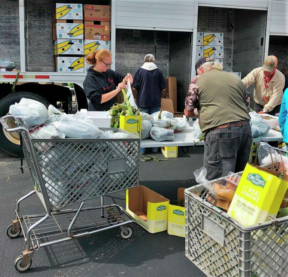 According totreasurer Karen McKenzie, the mobile food pantry is available to anyone in need of food. The only requirement is to bringone picture ID and to practice social distancing at this time.(Courtesy photo)