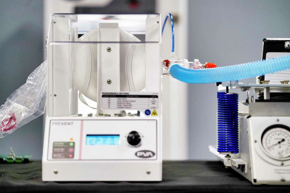 A view of the FDA approved emergency use resuscitator system designed and manufactured by PVA, seen here on Monday, April 20, 2020, in Cohoes, N.Y. The device, which the company calls PREVENT, uses a resuscitator bag. PVM is saying that with continuous use the bag would be replaced approximately every four days. PVA began manufacturing the device Friday night and the company said that it can make 250 of the devices a day at a cost of around $6,000 per unit. (Paul Buckowski/Times Union)