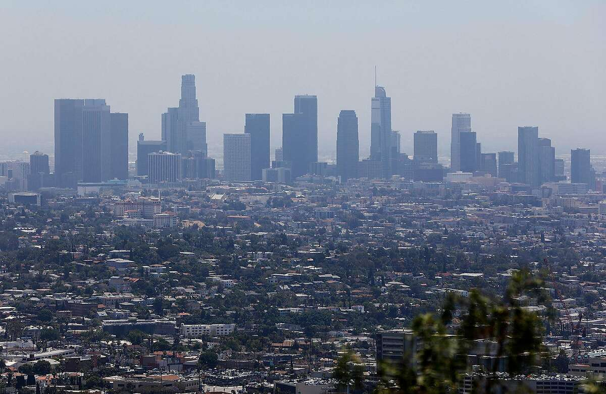 The downtown Los Angeles skyline is seen from the Griffith Observatory on July 1, 2019. (Christina House/Los Angeles Times/TNS)