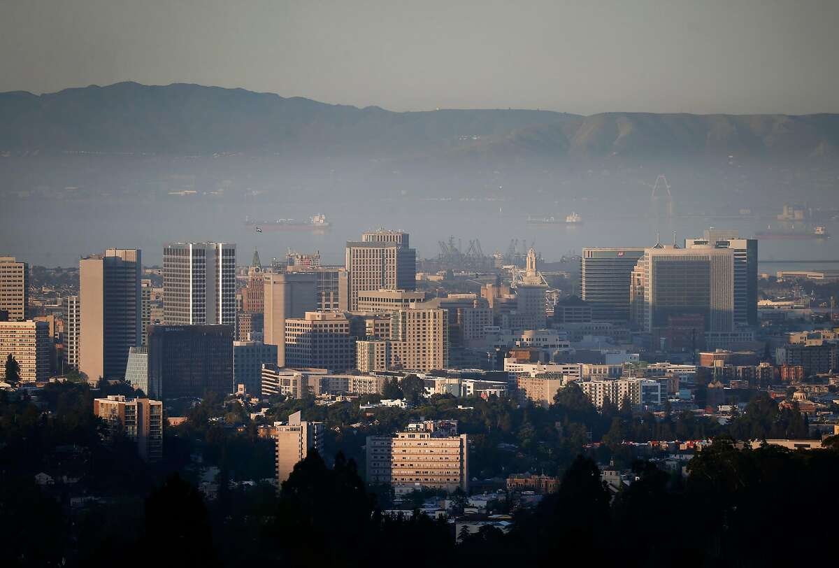 An inversion layer traps a low level of smog and particulates above Oakland, Calif. on Tuesday, April 23, 2019. The American Lung Association is releasing an annual report on the state of the air quality.