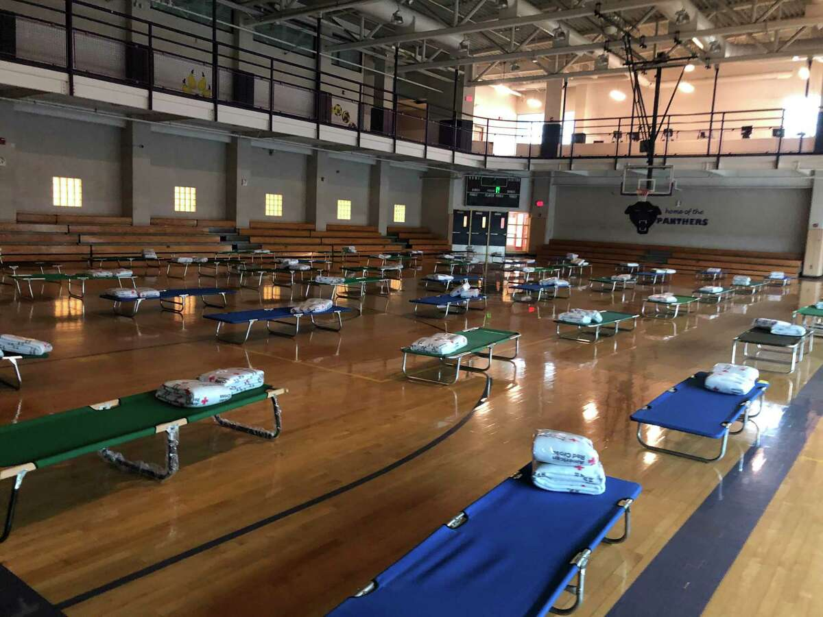 Respite facility for COVID-19 positive people experiencing homelessness, at Career High School in New Haven.